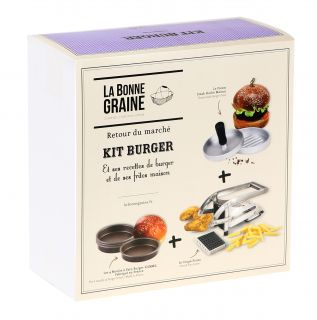 Kit burger (1 presse steak haché, 4 moules à pain Burger, 1 coupe-frites)