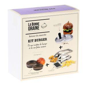 Kit burger (1 presse steak haché, 4 moules à pain Burger, 1 coupe-frites)
